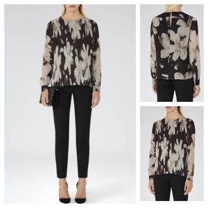 REISS Printed 'Shay' Plisse Blouse
